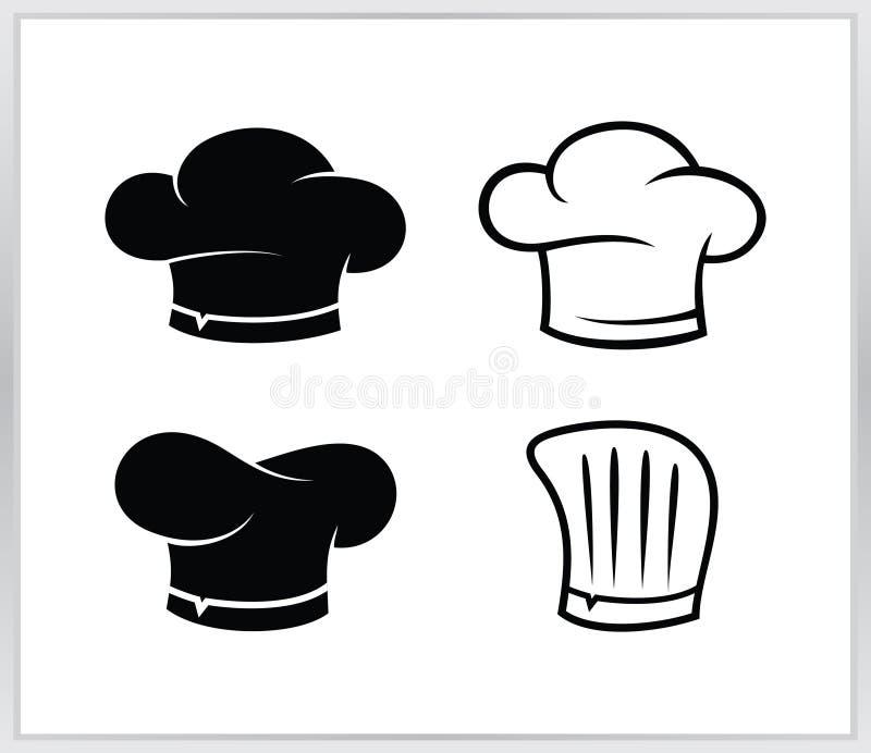 Установленный значок шляпы шеф-повара иллюстрация шляпы 4 шеф-поваров стоковое изображение