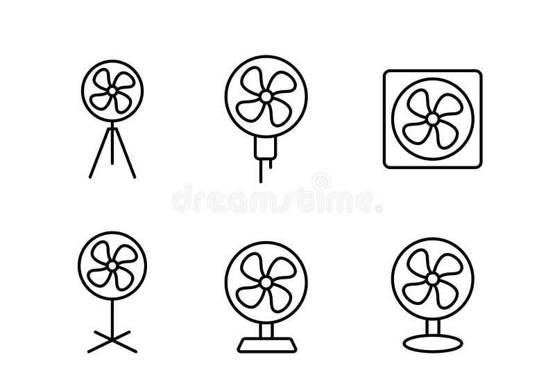 Установленный значок электрического вентилятора в линейном стиле, векторе иллюстрация штока