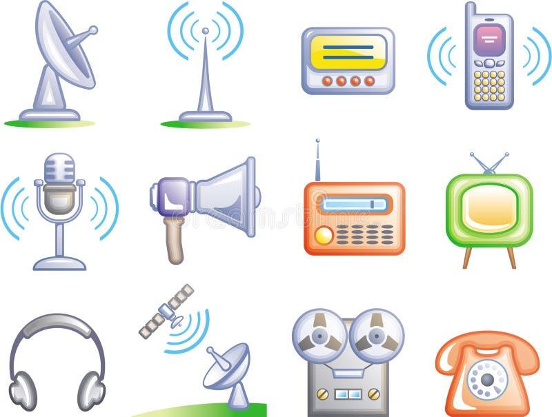 установленный иконами вектор телекоммуникаций иллюстрация вектора