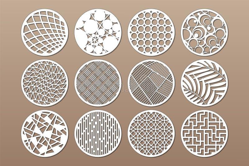 Установленный круглый шаблон для резать Абстрактная линия, геометрическая картина Отрезок лазера Установите 1:2 коэффициента такж иллюстрация вектора