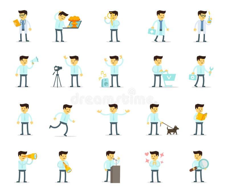 Установленный мужчина мультфильма Поиск и диалоги Призвание деятеля Большой установленный характер Пачка человека Иллюстрации соб иллюстрация штока
