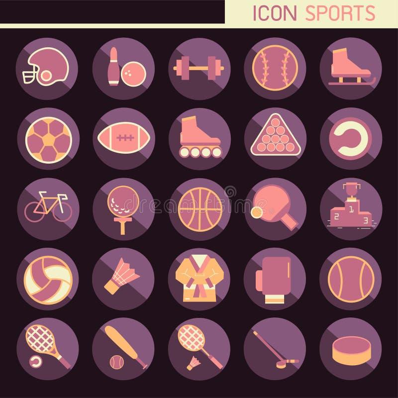 установленный плоский дизайн 25, содержит такие рэгби значков, боулинг, футбол, баскетбол, бейсбол, теннис и больше, элементы и о иллюстрация штока