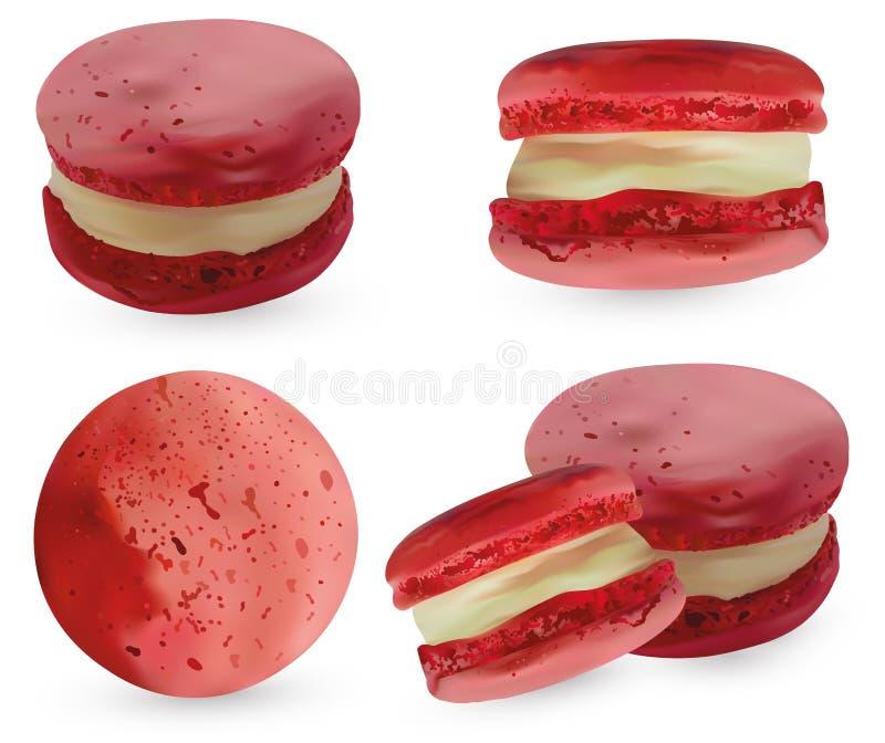 Установленный розовый macaroon на белом backround реалистические печенья миндалины 3d r иллюстрация штока