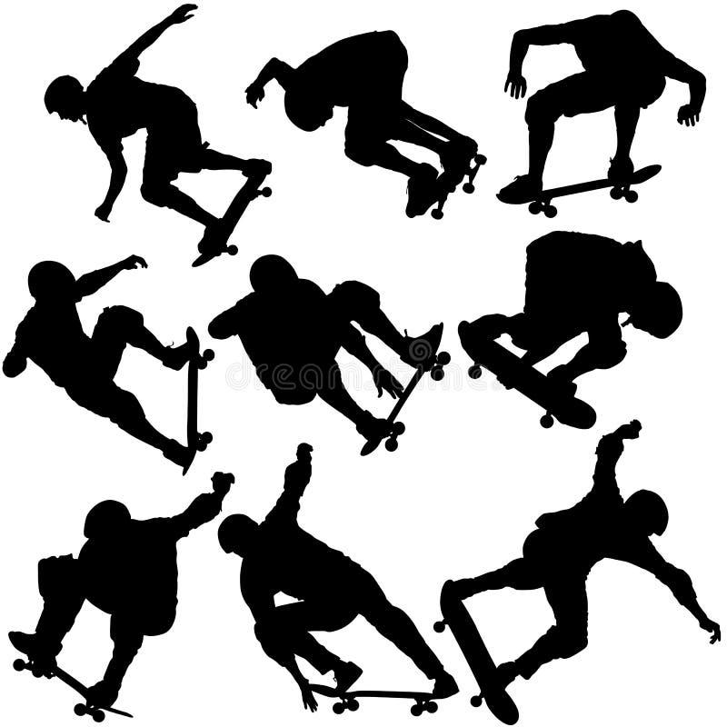 Установленный черный силуэт скейтбордиста спортсмена в скачке иллюстрация штока