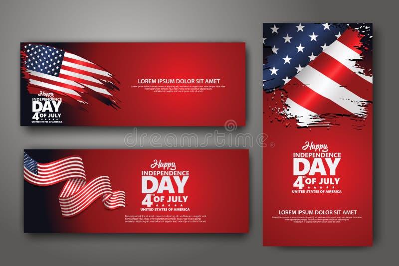 Установленный шаблон дизайна знамени Четверть Дня независимости в июле, иллюстрации вектора бесплатная иллюстрация