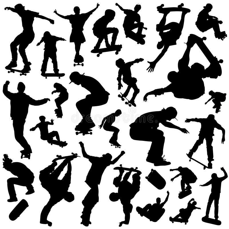 установленный skateboarding иллюстрация вектора