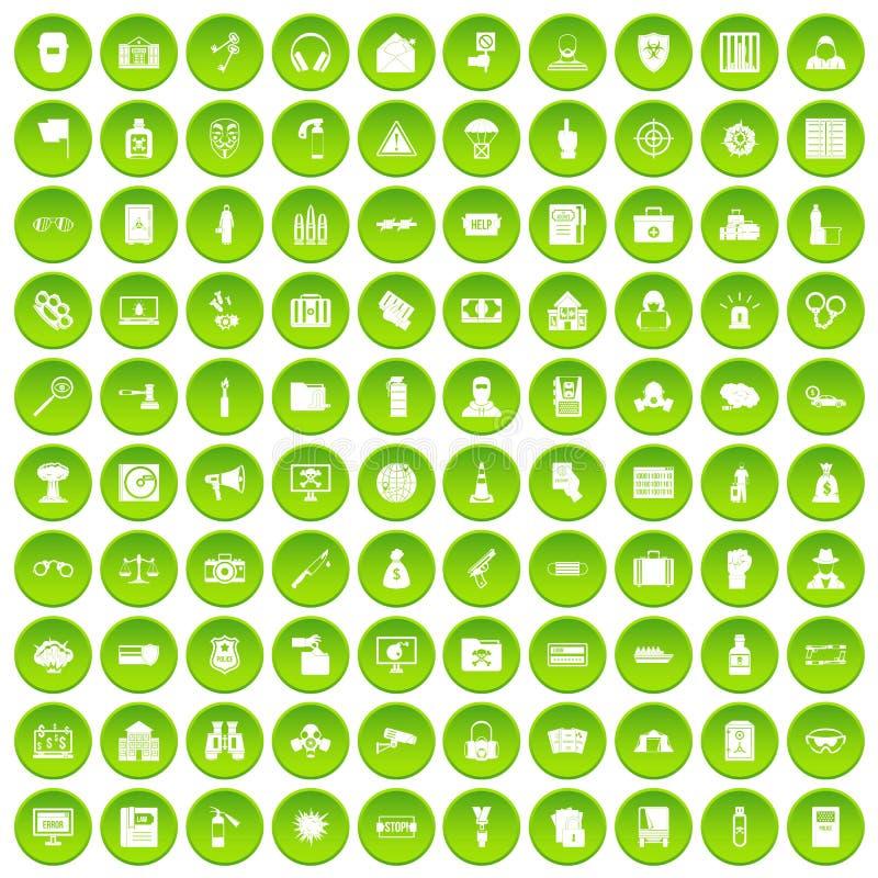 100 установленных значков злодеяния зелеными иллюстрация вектора