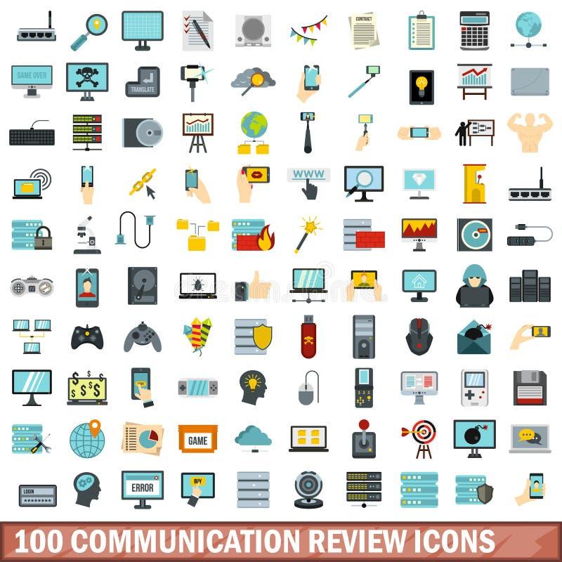 100 установленных значков, плоский стиль обзора связи иллюстрация штока