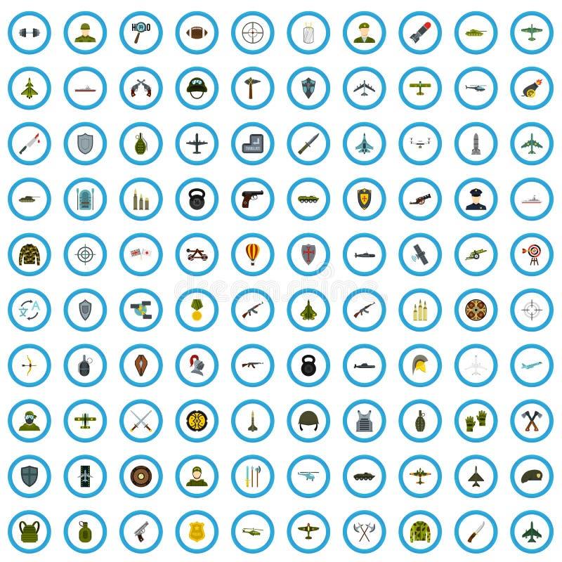 100 установленных значков, плоский стиль офицера бесплатная иллюстрация