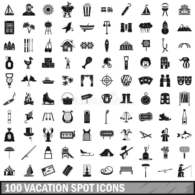 100 установленных значков, простой стиль места для отдыха иллюстрация штока