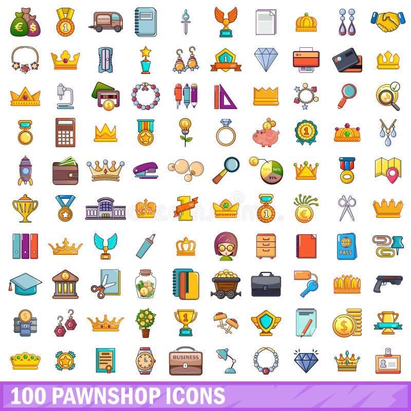 100 установленных значков, стиль pawnshop шаржа иллюстрация штока