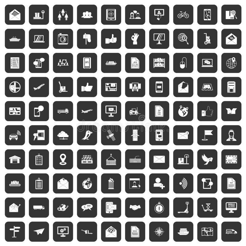100 установленных значков столба и почты черными бесплатная иллюстрация