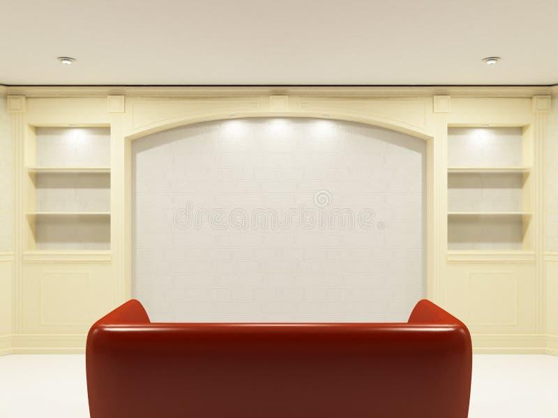 установьте красную стену софы иллюстрация вектора