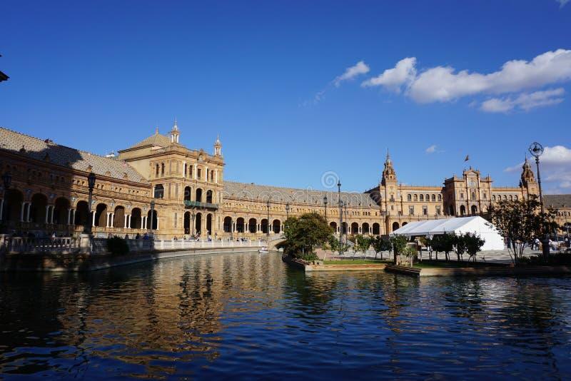 установьте touristic seville Испании квадратное стоковые фотографии rf