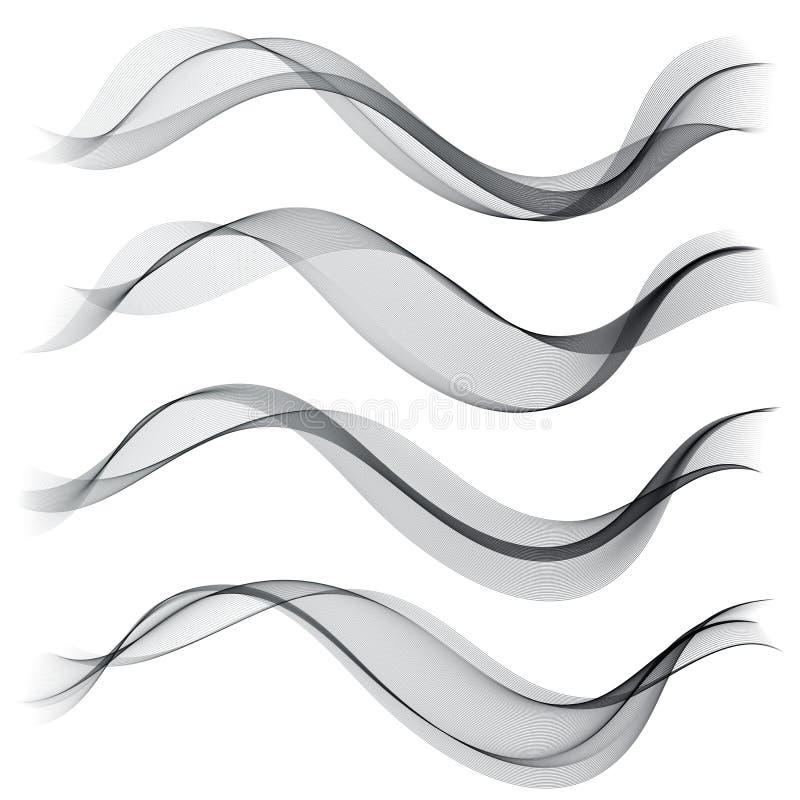 Установленная абстрактная волна дыма цвета Прозрачная волна Абстрактные ровные линии вектора бесплатная иллюстрация