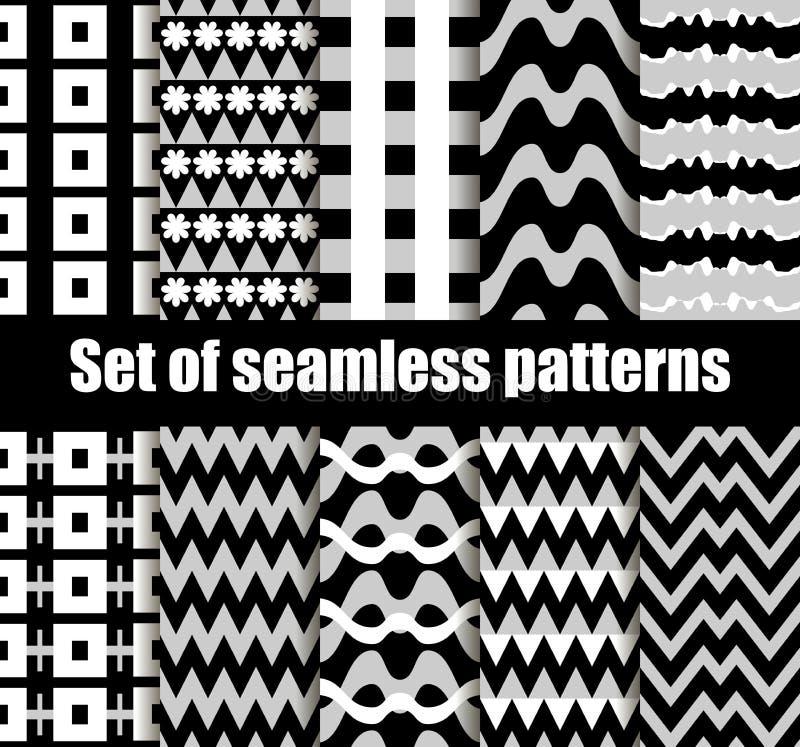 Установленная безшовная картина с геометрическими формами Черно-белые геометрические формы на заднем плане вектор бесплатная иллюстрация