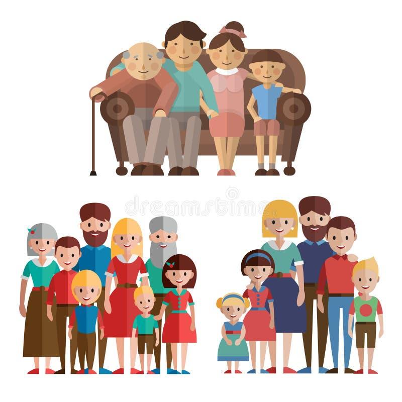 Установленная счастливая большая семья иллюстрация штока