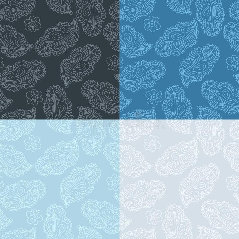 Установленная флористическая безшовная картина от декоративных стилизованных листьев и цветков Чувствительная винтажная флористич иллюстрация вектора