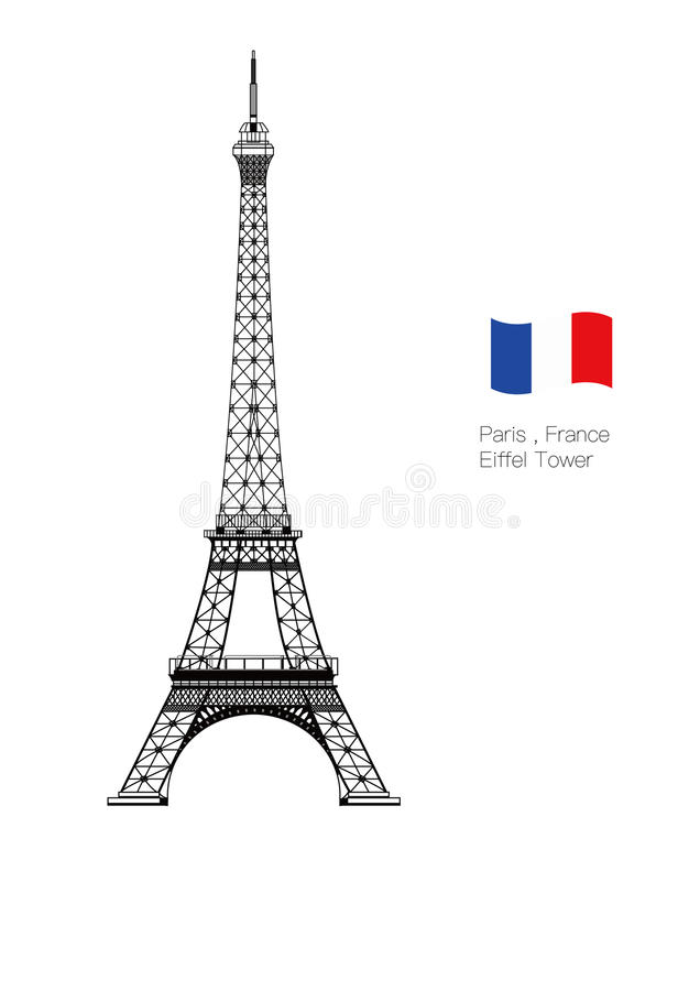 Установленная Эйфелева башня вектора бесплатная иллюстрация