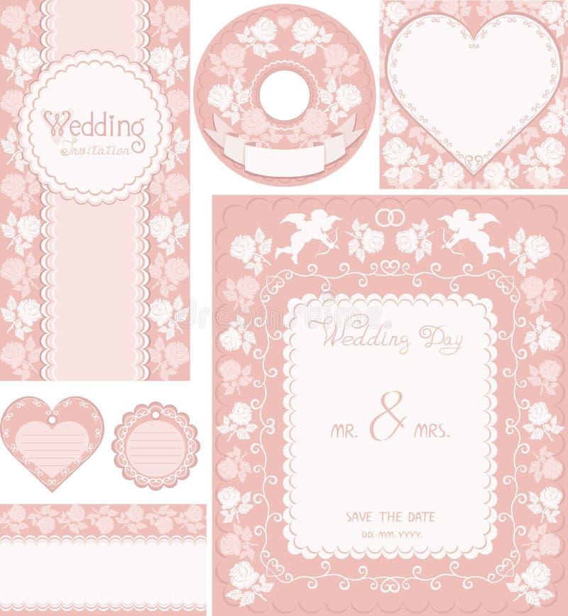 установленное венчание 2 Розовые предпосылки с розами иллюстрация штока