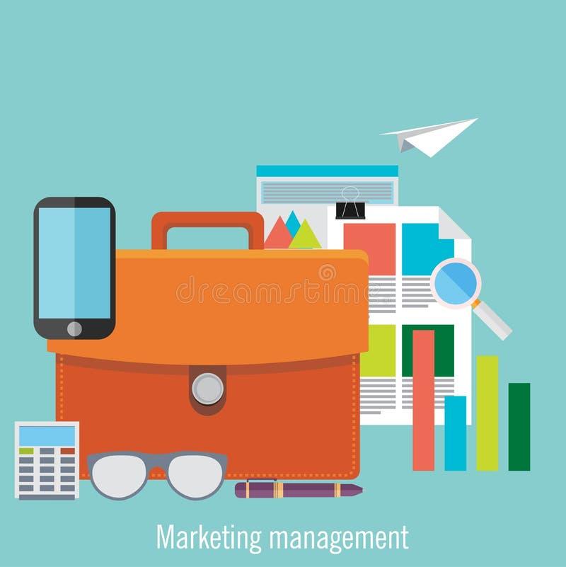 Установленное плоское управление маркетингом иллюстрация штока