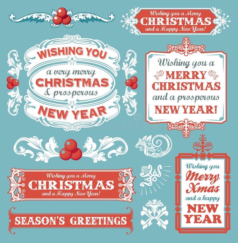 Установленное рождество - ярлыки, эмблемы и другие декоративные элементы стоковое фото