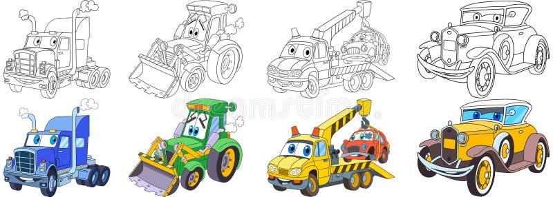 Установленные автомобили шаржа тяжелые бесплатная иллюстрация