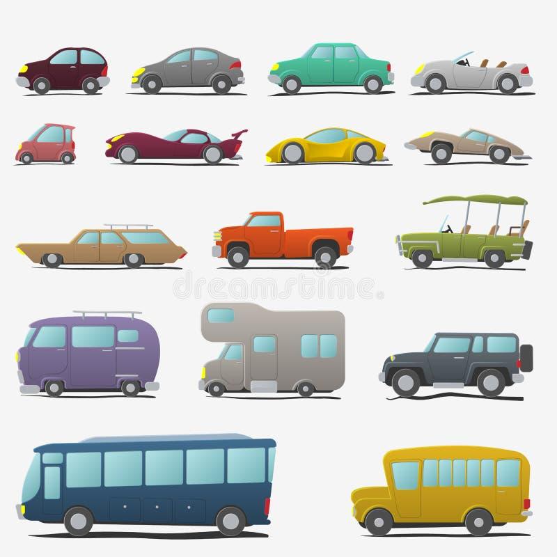 Установленные автомобили шаржа бесплатная иллюстрация