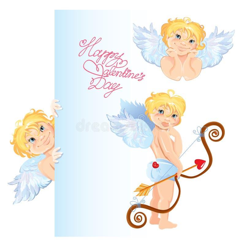 установленные ангелы Элементы для дизайна карточки дня валентинок иллюстрация штока