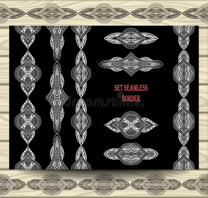 Установленные безшовные элементы украшения лент шнурка границы белые на черноте иллюстрация штока
