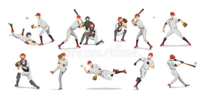 Установленные бейсболисты иллюстрация штока
