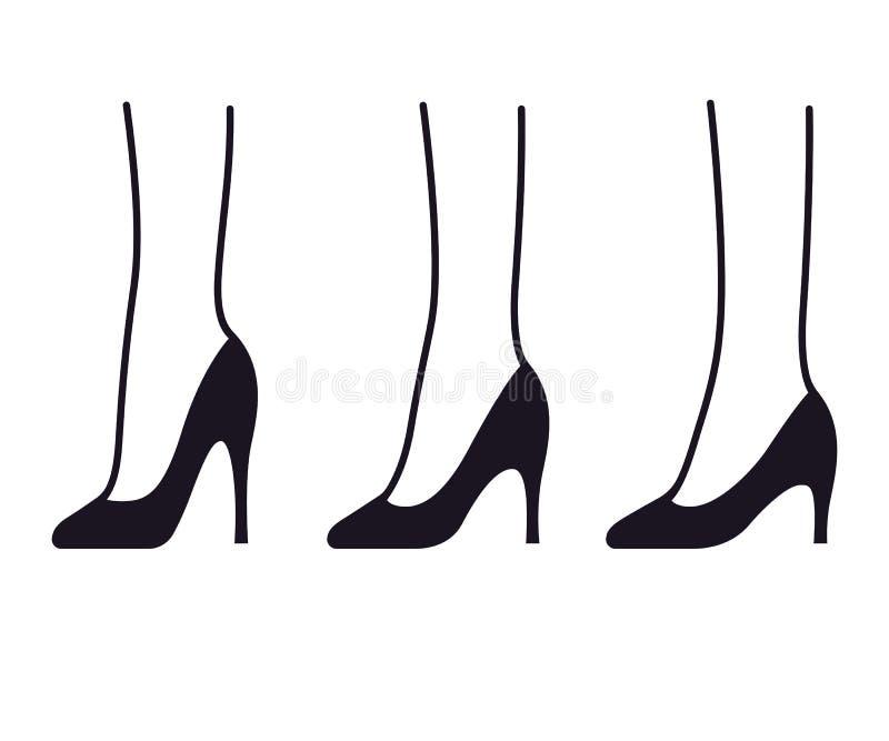 Установленные ботинки высокой пятки иллюстрация штока