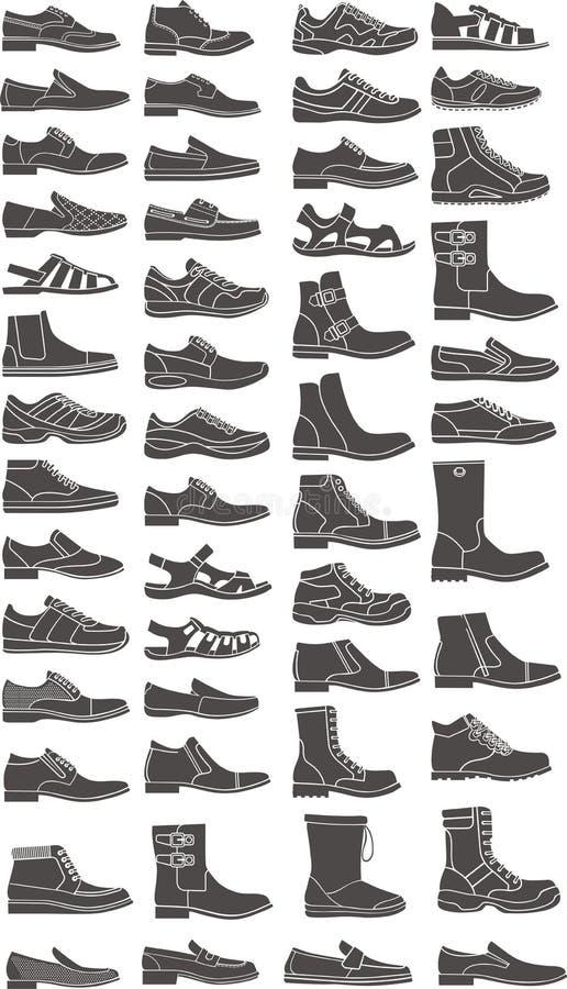 Установленные ботинки иллюстрация штока