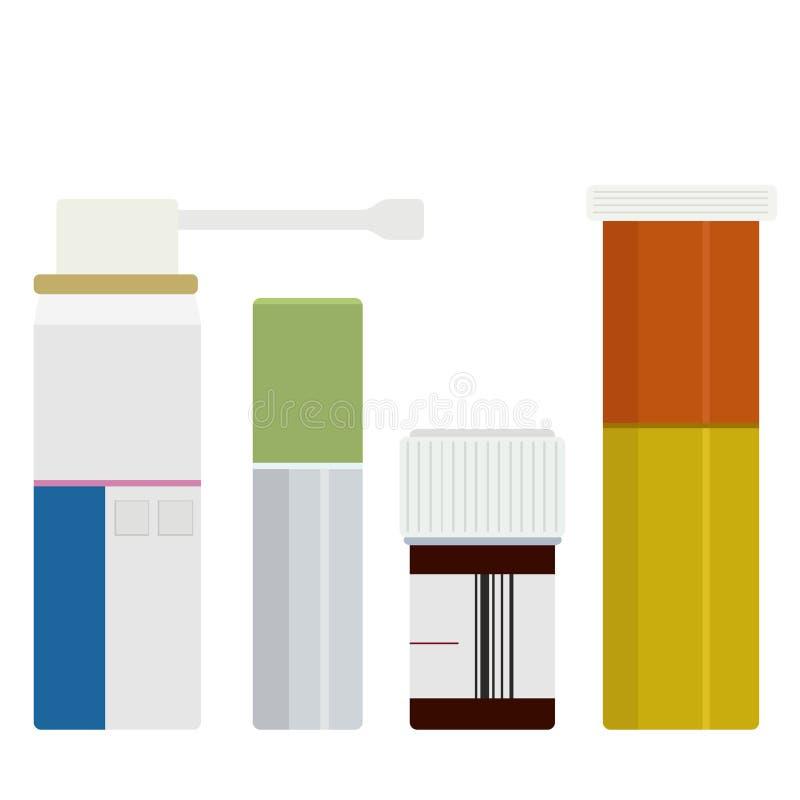 Установленные бутылки медицины вектора современные иллюстрация штока