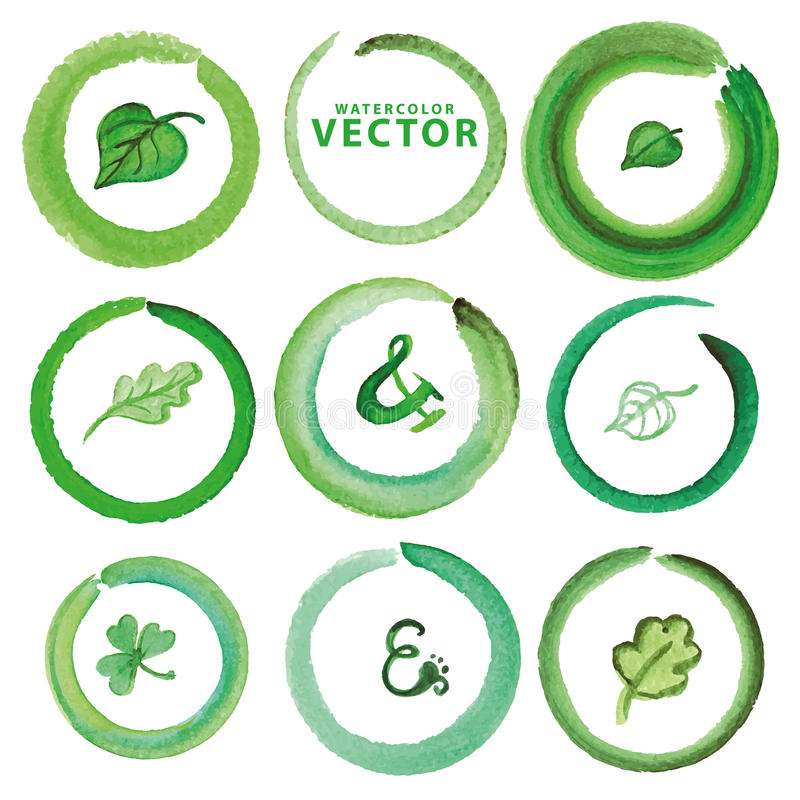 Установленные венок и листья акварели Зеленый иллюстрация штока