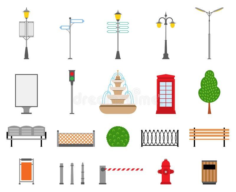 Установленные город вектора, улица, парк и внешние значки элементов иллюстрация штока