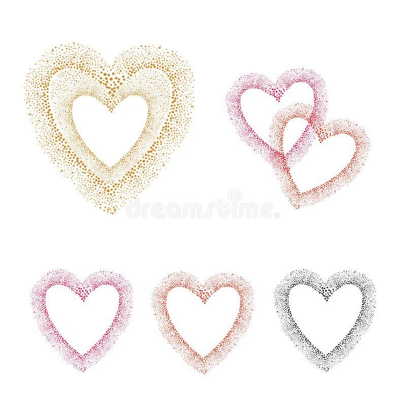 Установленные границы, красочная предпосылка сердец точек иллюстрация вектора