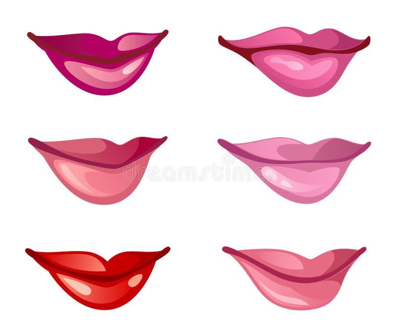 установленные губы иллюстрация вектора