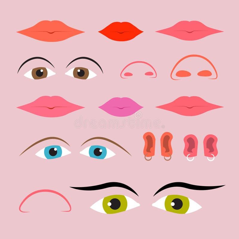 Установленные глаза, рти, носы и уши конспекта иллюстрация вектора