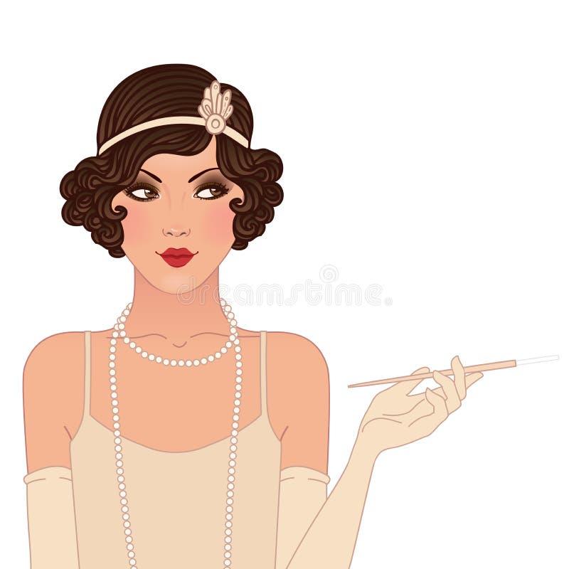 Установленные девушки язычка: молодая красивая женщина 1920s. Винтажный стиль иллюстрация вектора