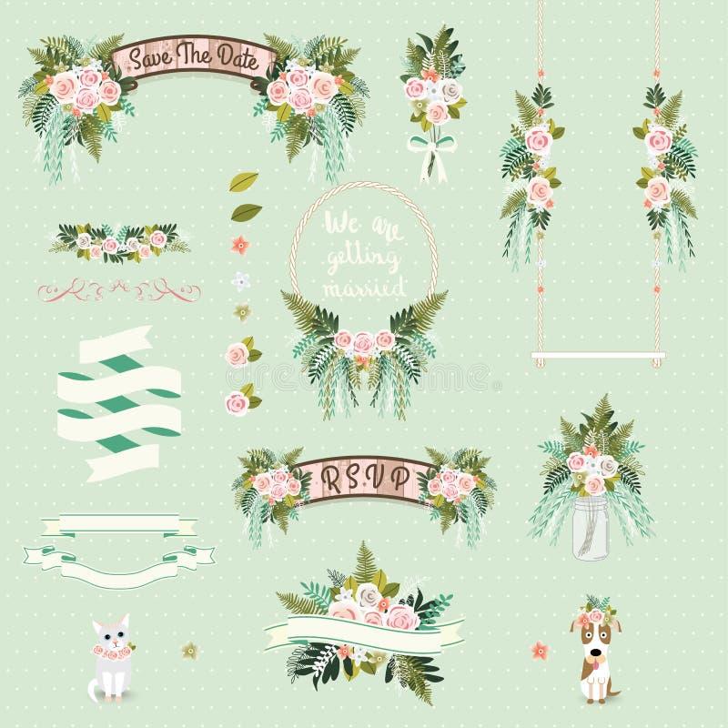 Установленные декоративная и орнаменты винтажной свадьбы флористическая иллюстрация штока
