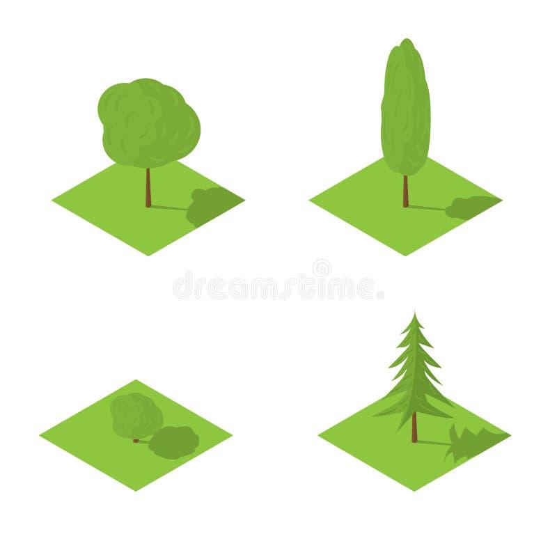 Установленные деревья vector равновеликая иллюстрация стоковые изображения rf