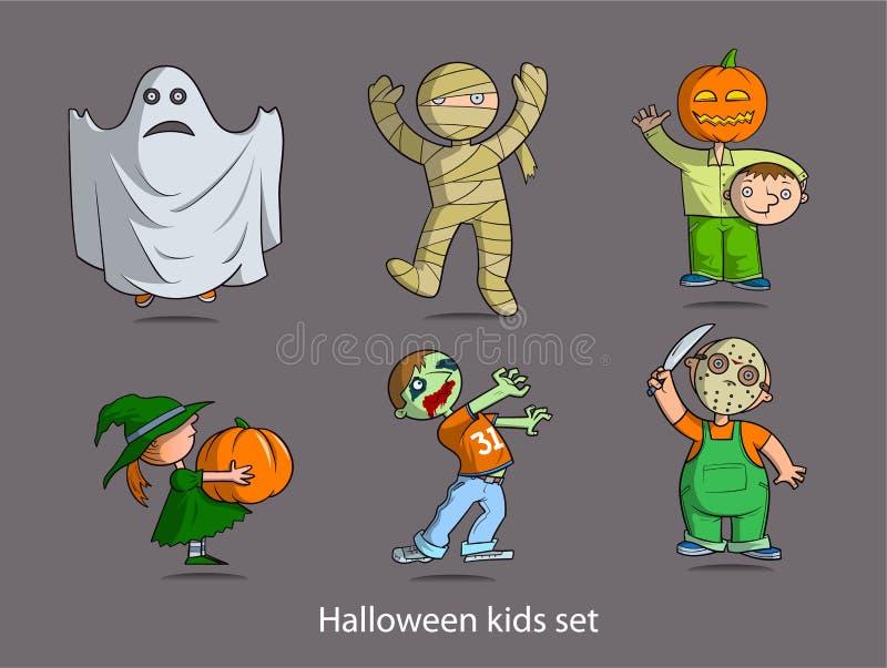 Установленные дети хеллоуина стоковая фотография rf