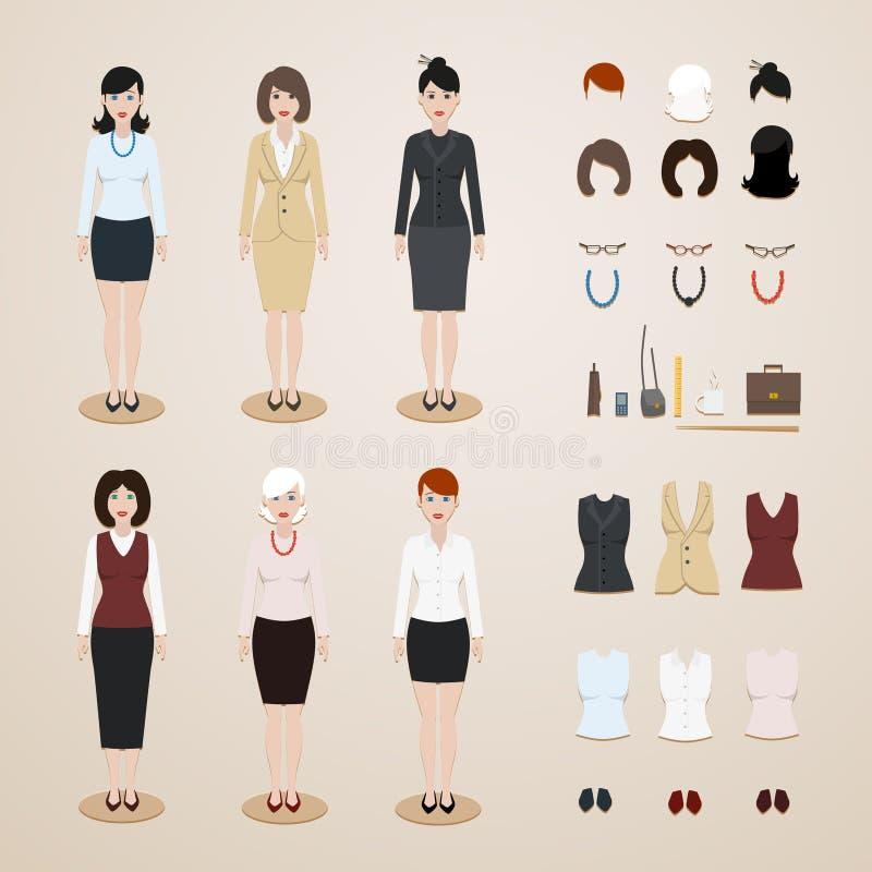 Установленные женщины офиса иллюстрация штока