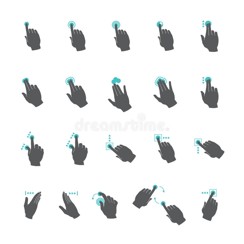 Установленные жесты рукой сенсорного экрана вектора общие бесплатная иллюстрация
