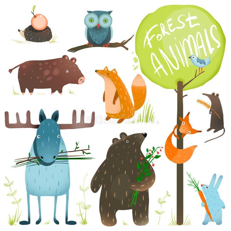 Установленные животные леса шаржа иллюстрация вектора