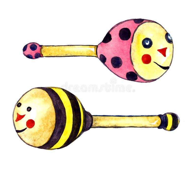Установленные жуки погремушк, пчела и ladybug бесплатная иллюстрация