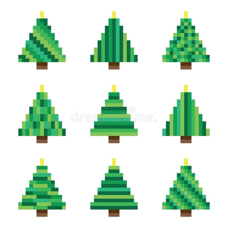Установленные зеленые рождественские елки пиксела в векторе иллюстрация штока