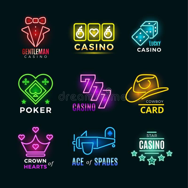 Установленные знаки вектора клуба и казино покера неонового света иллюстрация штока