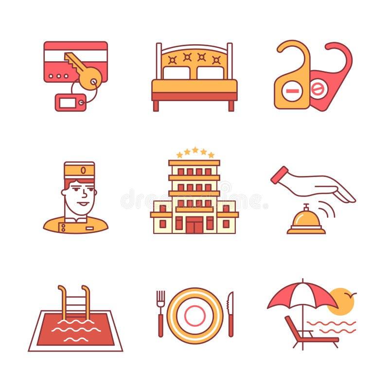 Установленные знаки гостиницы Тонкая линия значки искусства иллюстрация штока